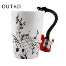 OUTAD Hot Sale Novelty Art Ceramic Mug Cup Musical Instrument Note Style Coffee Milk Cup Christmas Gift Home Office Drinkware