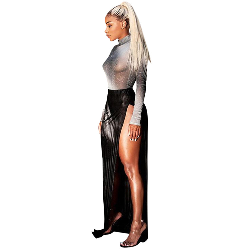 women shiny silver tops and high slit skirt set-3