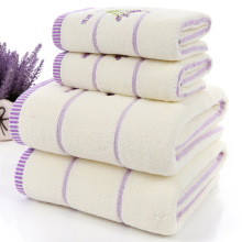 High quality Lavender Purple White Cotton towel set serviette de bain 1pc bath towel 1pc face towel For Adults/Child 2pcs/set