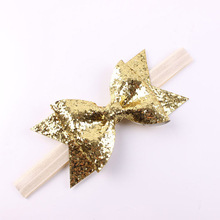 New Design Handmade Glitter Bow Headband With Elastic Band For Infant Toddler Baby Children Hair Accessories