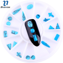 Blueness 1Wheel Blue Acrylic Mix Design Cobblestone Stones Nail Art Decorations Supplies Studs Manicure DIY Adhesives Nails Gem(China)