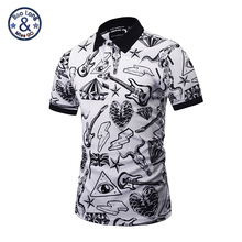 Mr.1991INC Summer New Men 3D Print a variety of personality interesting elements of the pattern polo Shirts Male dress(China)