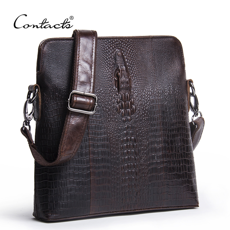 CONTACTS Guarantee Genuine Leather Men Bags Handmade Alligator Famous Brand Design Messenger Bag High Quality Man Brands Bags<br>