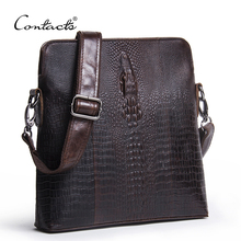 CONTACT'S Guarantee Genuine Leather Men Bags Handmade Alligator Famous Brand Design Messenger Bag High Quality Man Brands Bags(China)