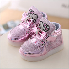 Children Shoes 2017 New Spring Hello Kitty Rhinestone Led Shoes Girls Princess Cute Shoes With Light EU 21-36