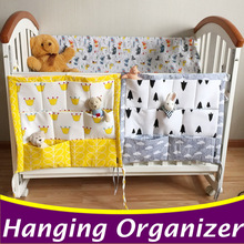 Cartoon Baby Crib Bed Hanging Storage Bag Baby Crib Accessories 60*50cm Baby Toys Diaper Organizer For Cot Bedding Set CP23
