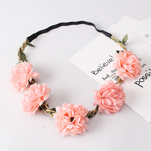 Women's Fashion Bohemia Beach Flower Hair Bands Beautiful Floral Elastic Headband Garland Hair Accessories Headwear
