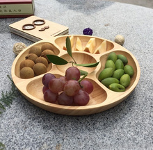 Environmental Creative Log Tableware with Portioned Compartments High Quality Wooden Fruit Plate Round Fruit Bowl Container 7