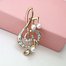 OneckOha Fashion Simulated Pearl Musical Note Brooches Rhinestone Alloy Brooch Pin