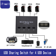 iT-wel USB 2.0 Hub Manual Sharing Switch 4 in 4 out Keyboard and mouse sharing switch Printer sharing for Computer(China)