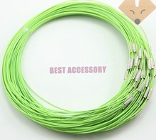 "100pcs Light Green Memory Wire Cable Steel Chain Charms Necklaces 18 "" Clasp Choker Necklace Jewellery Findings Accessories"