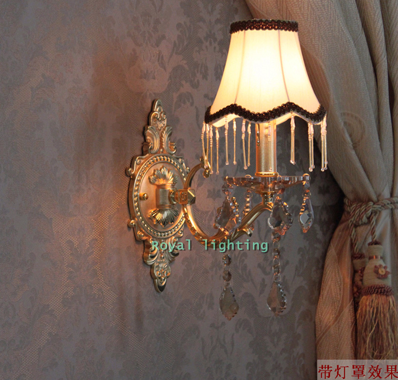 Free shipping Bedroom modern wall Sconce crystal Wall lamps fabric lampshade Europe fluorescent wall lights for bedside hallway<br><br>Aliexpress