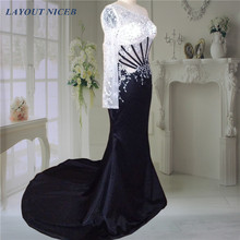 Sexy See Through Long Single Sleeve Beading Black Evening Dresses 2015 Floor Length O Neck Formal Dresses(China)