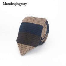 Mantieqingway Brand Business Wedding Party Striped Solid Necktie for Suit Shirt Polyester Silk Slim Arrow Knit Tie Neckwear Ties(China)