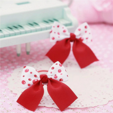 cute boutique red white kids girls hair ties elastic tiara bows satin flower hairbows headbands hairband floral accesories bands