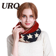 [URQ] Winter Warm Loop Scarves US flag Acrylic Circle Scarves Man Woman Neck Accessory soccer fan scarf A3A14846(China)