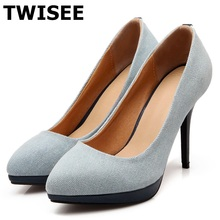 2017 high heels thin heels 10cm sexy dress Denim shoes red black brown women pumps party wedding shoes blue color