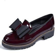 spring new large size women flat shoes wine red platform women's Shoes Casual round bow Flats Female Loafers chaussure