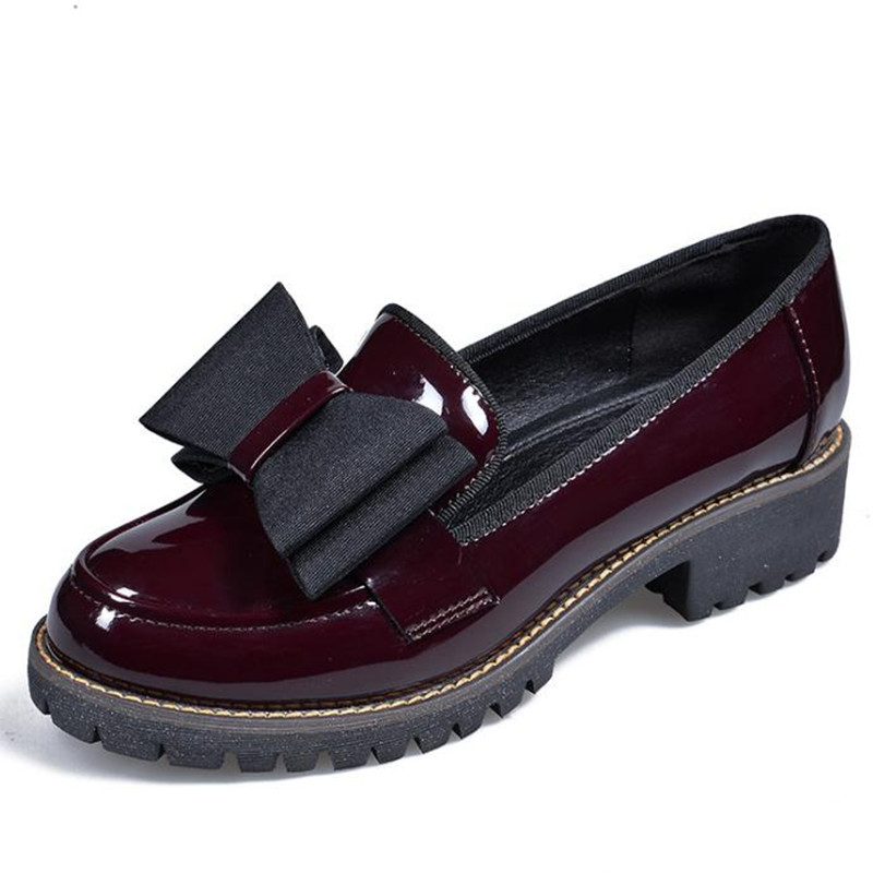 spring new large size women flat shoes wine red platform womens Shoes Casual round bow Flats Female Loafers chaussure <br>
