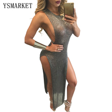 Sexy Gold Sequin like Maxi Dress Elegant Evening Paillette Robe Long Bodycon Bustier Party Dress Tank High Split Mermaid Dress