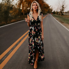 Buy Elegant Flower Print Lace Maxi Dress Vestidos Sexy Deep V neck Backless Summer Dress Women Boho Asymmetrical Long Dress for $12.99 in AliExpress store
