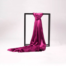 100% Silk Satin Long Scarf 55X180cm Pure Mulberry Silk Plain Color Silk Scarf Factory Direct Online Store 51 Dark Hotpink(China)