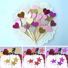 6pcs/lot Love Star Shape Cupcake Cake Topper Cake Flags Baby Shower Wedding Birthday Christmas Party Baking Creative Decorations