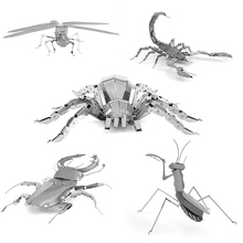 3D Metal Puzzle 3D animal insect Mantis Scorpion Stag Beetle Tarantula Dragonfly Mini Qute Piece Fun for Model Fans