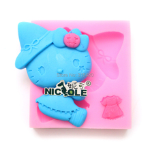 Hot sale DIY cute cartoon cat design fondant mold 3d silicone mould Nicole brand factory outlet F0720(China)