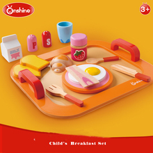 Onshine Children Colorful Wooden Food Toys Breakfast  Pretend Play Kitchen Toys Set For Kids