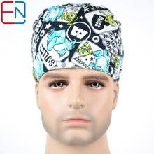 Hennar surgical caps for men in white WITH Sulley and Mike MEDICAL CAPS limited edtion