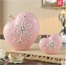 2pcs ceramic apple home decor crafts room decoration ceramic kawaii ornament porcelain figurines christmas articles decorations(China)