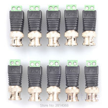 10 pcs Coax CAT 5 To BNC Balun Male Plug Adapter Video Connector For Security CCTV DVR