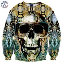 Mr.1991INC&Miss.GO brand clothing men Hoodies & Sweatshirts spring autumn long sleeve pullovers snakeskin skull 3d hoodieTop(China)