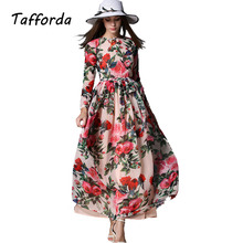 Woman Spring Long Dress Floral Print Beautiful Chiffon Dress with Elastic Waist  Bohemian Style Long Sleeve Woman Dress