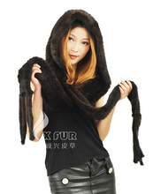 EMS DHL FREE SHIPPING CX-C-33 Mink Fur Hand Knitted Winter Hat ~ Hooded Scarf ~DROP SHIPPING