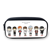 2016 South Korean design BTS cartoon pencil bag girl fans the best gift 3D picture students stationery bag girl's make-up bag(China)