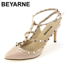 BEYARNE big size 34-42 fall SEXY WOMEN candy color 9CM high heel rivet T strap ankle pump lady club party close anti-wolf shoes