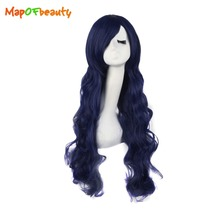 "MapofBeauty 32"" 80cm synthetic wigs long wavy Navy Blue hair Heat Resistant Nautral Cosplay wig Costume party girls peruca"