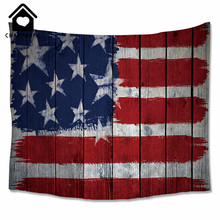 CHARMHOME American Flag Tapestry Decor Old Wooden Design Bedroom Living Room Dorm Accessories Wall Hanging Tapestry Blue Red