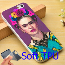 Trendy Frida Kahlo TPU Phone Case for iPhone 5S 5 SE 5C 4 4S 6 6S 7 Plus Cover ( Soft TPU / Hard Plastic for Choice )