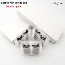 Visofree Eyelashes Makeup 3D with Tray No-Box Handmade Full-Strip Mink Cilios Visofree-30/40-pairs/lot
