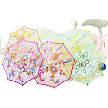 100pcs Mini Small Umbrella Children Dancing Props Craft Lace Embroidery Umbrella Stage Performance Party Gifts Souvenir ZA1287