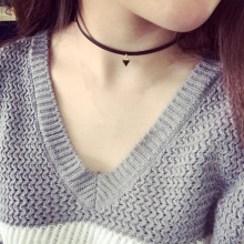 2016 New Fashion Diy Original Black Velvet Ribbon Geometric Female Necklace Punk Triangle Necklace Pendant Necklace Wholesale