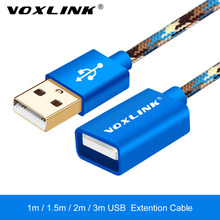 VOXLINK 3 Colors Support 1M/2M Camouflage Nylon USB Male to Female Extend Extension Cable Cord Extender For Apple PC Laptop
