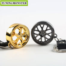 TUNINGMONSTER New Wheel Rim Hub Alloy Keychain Keyring Key Chain Ring Keyfob Automobile Accessories Leather(China)