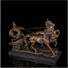 Arts Crafts Copper Western Art Bronze Sculpture General and Horses Statues Big size sculptures Brass Warrior Statue Antique Gift