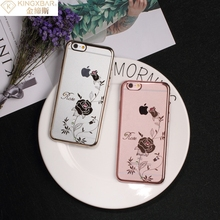KINGXBAR Cover for iPhone 6 s 4.7-inch Phone Cases Deluxe Swarovski Plating Hard Phone Case for iPhone 6s 6 Cover Pretty Orchid