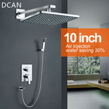 DCAN 10 Inch Air Shower Head Set Booster Saving Water Concealed Wall Mounted Box Shower Kit Rainfall Brass Bath &Shower Faucets(China)
