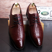 Black Square Toe British Men Dress Shoes Crocodile Pattern Leather Shoes Man Lace Up Stylish Brown Wedding Shoes 38-44